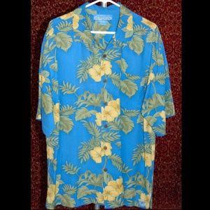BERMUDA BAY  Hawaiian blue silk floral shirt XL